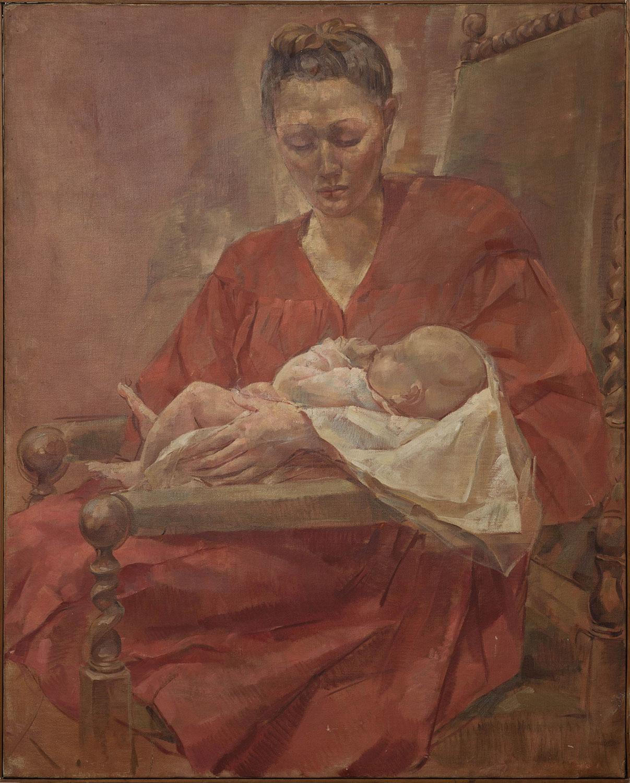 La femme et l'enfant. Josette Abrasart et son fils Guy Tijs. Maternité. ©KIK-IRPA, Bruxelles