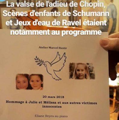 2018-03-20 « Hommage à Julie et Mélissa et aux autres victimes innocentes » – Récital d'Eliane Reyes, piano – Echo du public et des parents